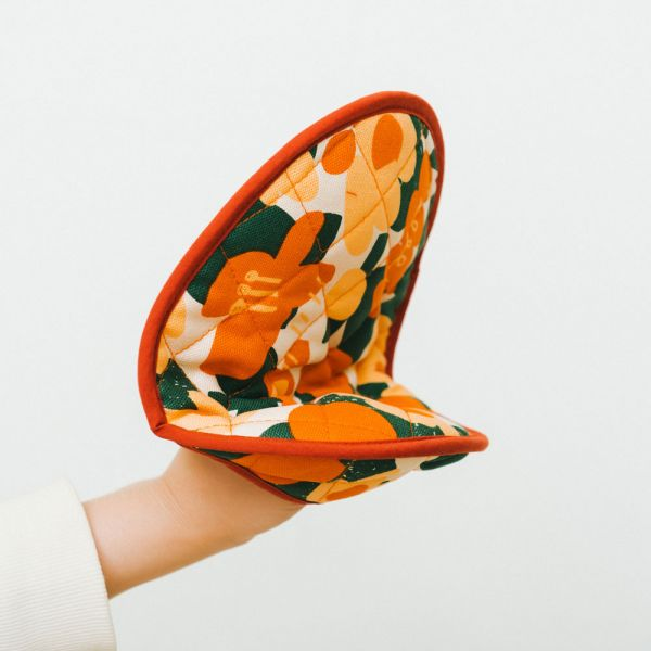 蛋形隔熱手套鍋墊(厚)/藝術家聯名/印花樂 x UULIN/荷包蛋花朵/橘色 鋪棉手套,隔熱手套,隔熱墊