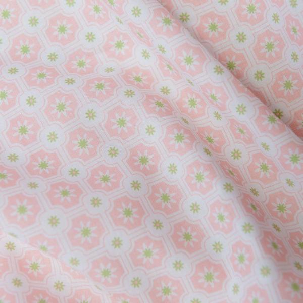 寬幅平織印花棉布/老磁磚2號/春櫻粉 布料, 棉布, 手作材料