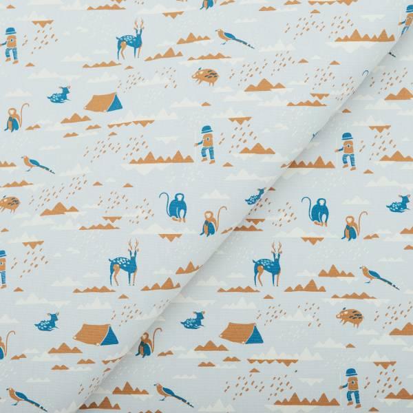 手印棉帆布(滿花)-250g/y/山中健行/黃泥灰色 布料, 棉帆布, 手作材料