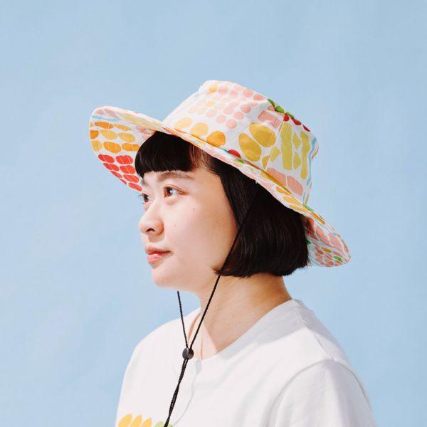 遮陽漁夫帽-可調式/老派冰果室/牛奶白 戀夏冰果室 ,冰果室,復古印花,文青穿搭,漁夫帽