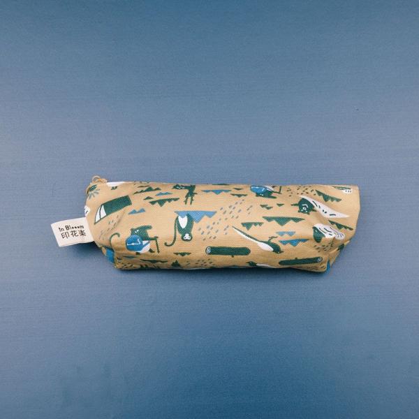拉鏈筆袋/限定花色/印花樂x馬來貘-山林泥褐 筆袋, 文具袋