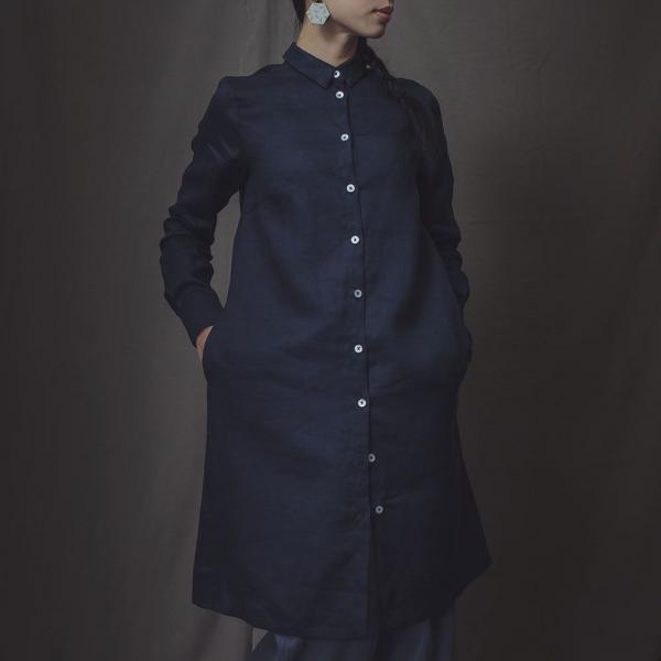 長袖長版襯衫/雜花/素色麻深藍 長版襯衫