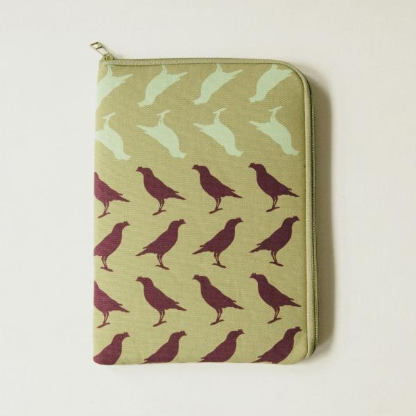 10.5吋 iPad收納包/台灣八哥5號/油畫紫綠 平板保護殼, 平板保護袋, iPad收納袋