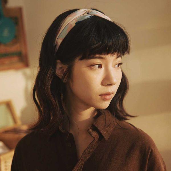 絲巾款髮帶/玻璃海棠2號/柔和粉藍