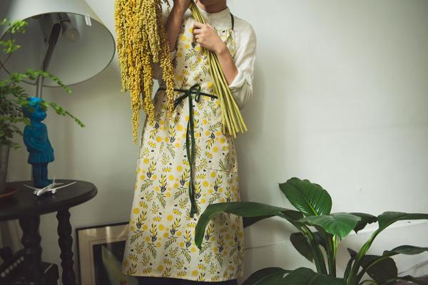 洋裝圍裙/米力系列/黃相思 圍裙