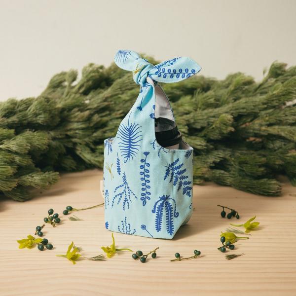 小胖兔耳袋/野花草與蜻蜓/花瓣藍紫 飲料提袋, 環保飲料提袋, 隨行杯提袋, 兔耳袋