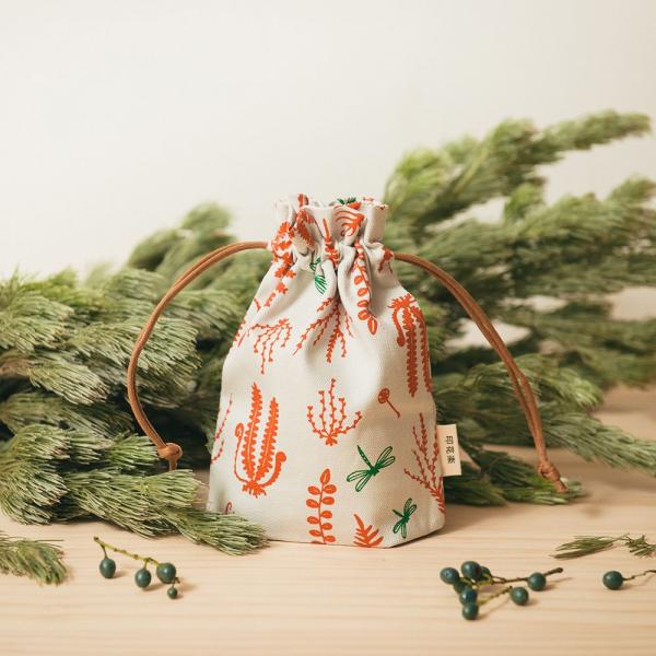 束口小囊袋/野花草與蜻蜓/磚橘紅色 束口袋