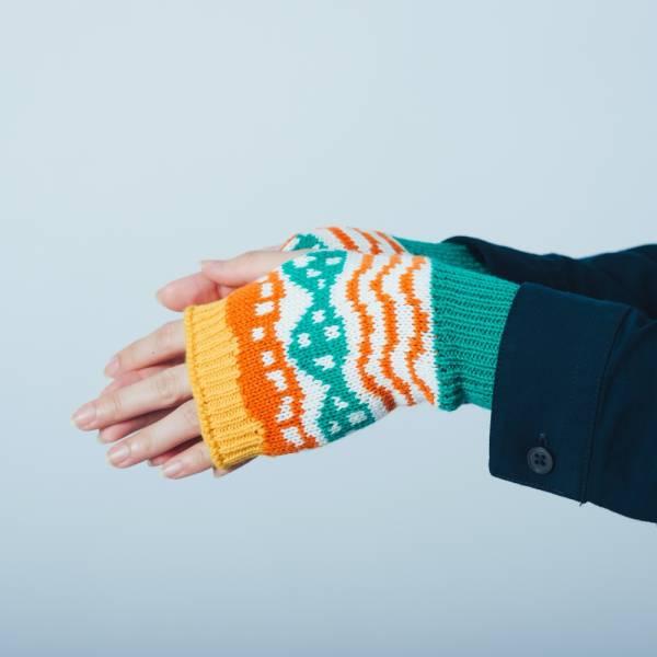 緹花無指手套/印花樂 x Yu Square/浪花橘白綠 針織手套, 半指手套, 露指手套, 保暖手套