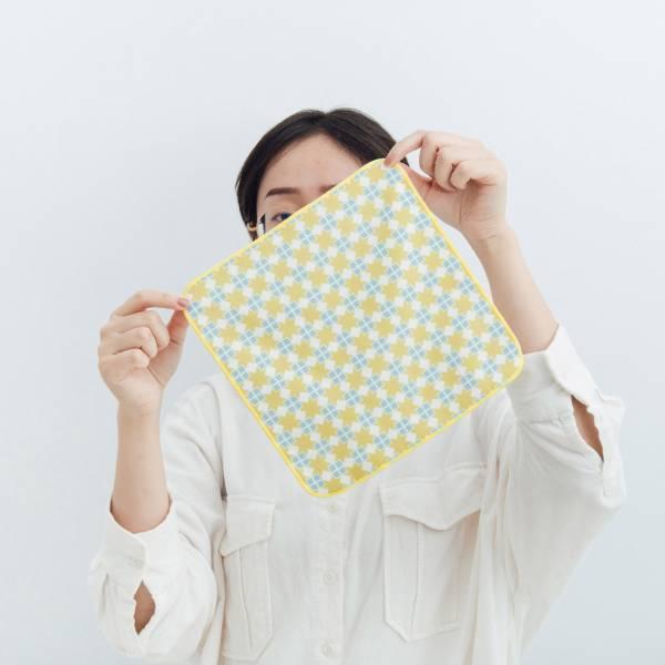 和風雙層小方巾/老磁磚/星芒黃藍 毛巾, 手帕, 方巾