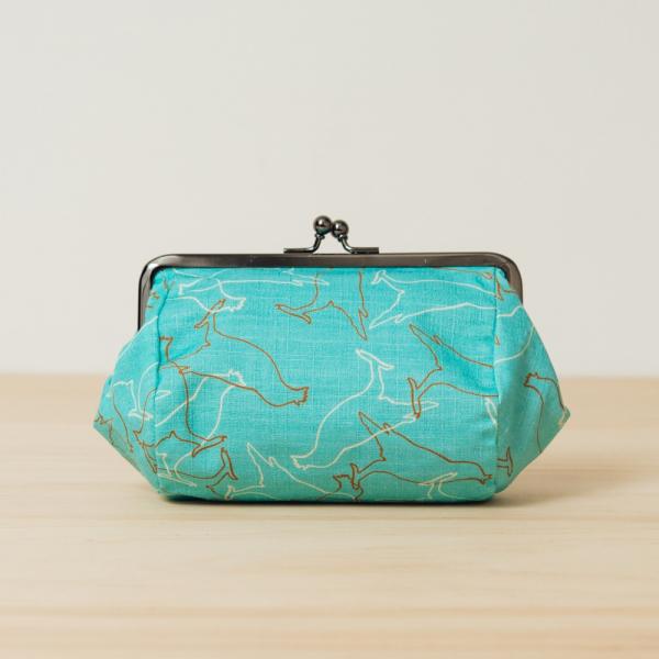 和風圓筒口金手拿包/台灣八哥/冰湖藍 口金包, 零錢包, 化妝包, 手拿包