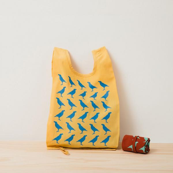 可收捲小背心袋/台灣八哥/活躍黃藍 背心袋, 購物袋