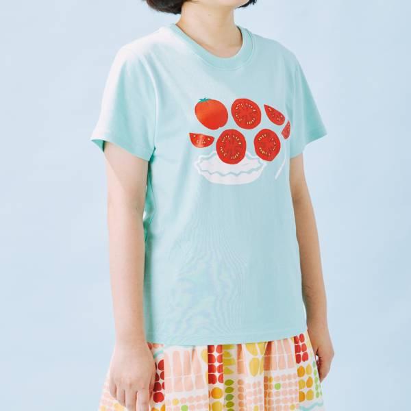 印花T-限定花色/蕃茄切盤/天藍色 印花樂 ,戀夏冰果室 ,冰果室 ,復古印花,文青穿搭
