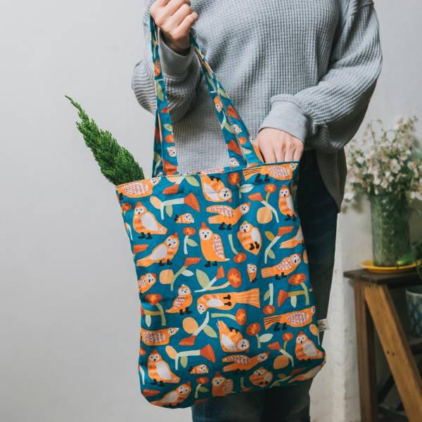 圓角肩背購物袋/藝術家聯名/印花樂 x UULIN/貓頭鷹與花/橘藍 拖特包, 肩背包