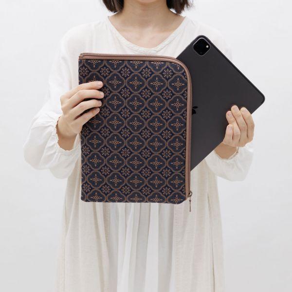 11吋iPad收納包/玻璃海棠/午夜藍褐 平板保護殼, 平板保護袋, iPad收納包