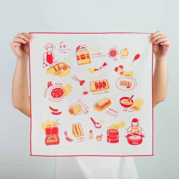 包布巾/雜花/台灣早餐紅色 布巾, 包巾, 手帕