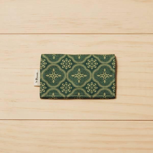 單釦名片夾/玻璃海棠/古董草綠 名片夾