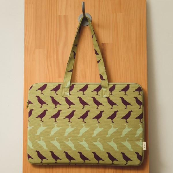 15.5吋筆電收納包/台灣八哥5號/油畫紫綠 筆電包, 筆電袋