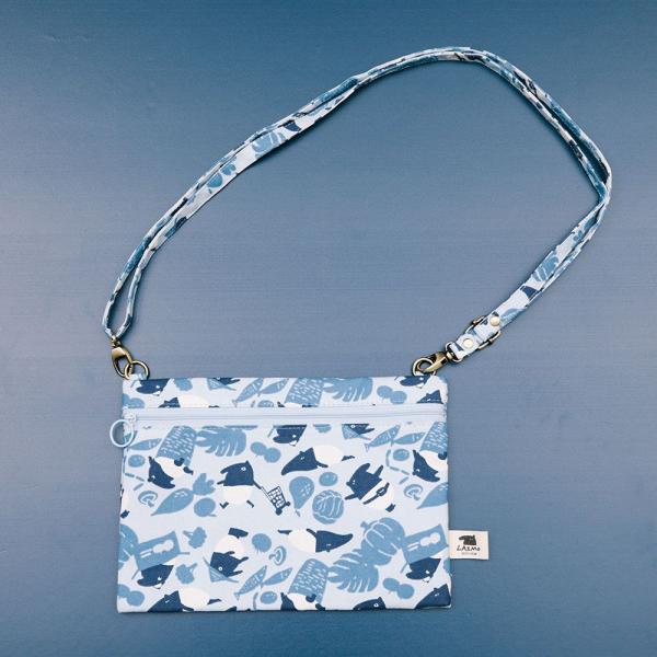 側背橫式扁袋/限定花色/印花樂x馬來貘-中性藍 隨身包, 側背包