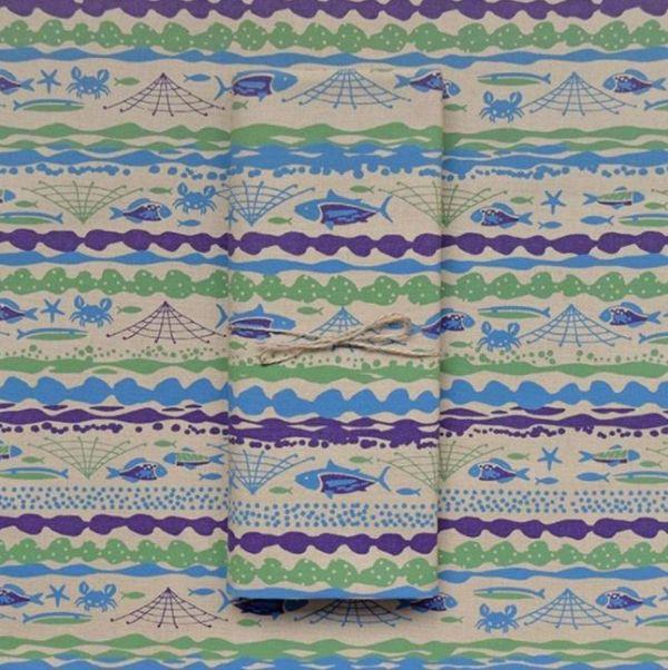 手印帆布250g/海的寶物/魚群/灰紫褐