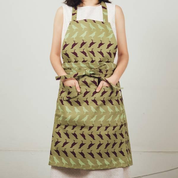 全身/半身兩用圍裙/台灣八哥5號/油畫紫綠 2019,圍裙,工作裙,餐廚,台灣八哥