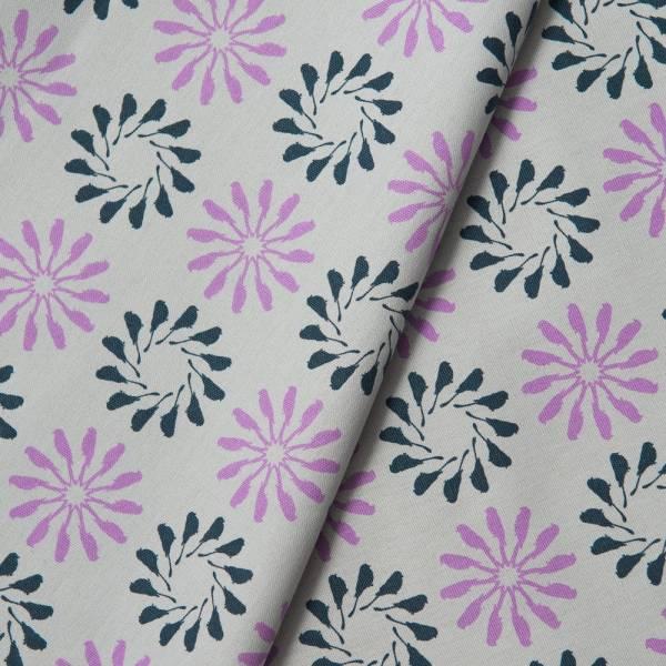 手印棉帆布_滿花-250g/y/烏秋圈圈/霧灰紫 布料, 棉帆布, 手作材料