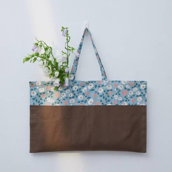 【限量】買花袋/藝術家聯名/印花樂 x 米力/玫瑰花灰藍 買花,提袋,大容量提袋,環保袋