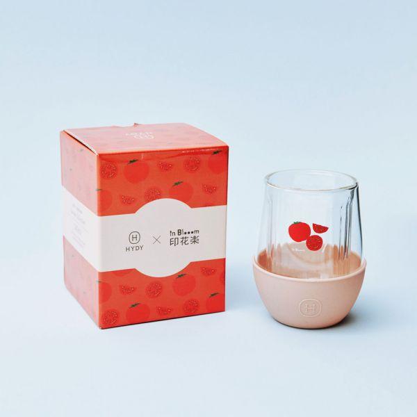 印花樂xHYDY雙層玻璃蛋型杯240ml-限定花色/蕃茄切盤/拿鐵 戀夏冰果室 ,冰果室,復古印花,水杯,玻璃杯