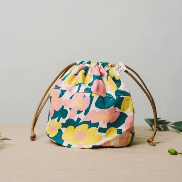 球型束口袋/藝術家聯名/印花樂 x UULIN/荷包蛋花朵/粉色 束口袋, 收納袋