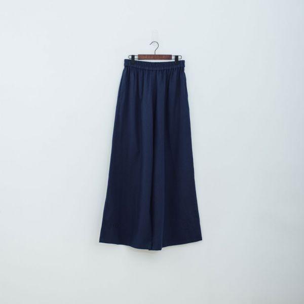 休閒寬版長褲/棉麻藍色 褲子,寬褲,印花布料,長褲