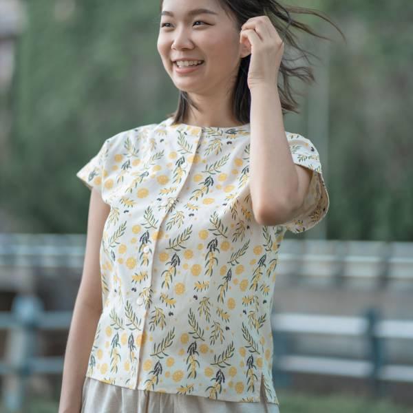 圓領小包袖襯衫/米力系列/黃相思 中性襯衫,襯衫,花襯衫,印花布料