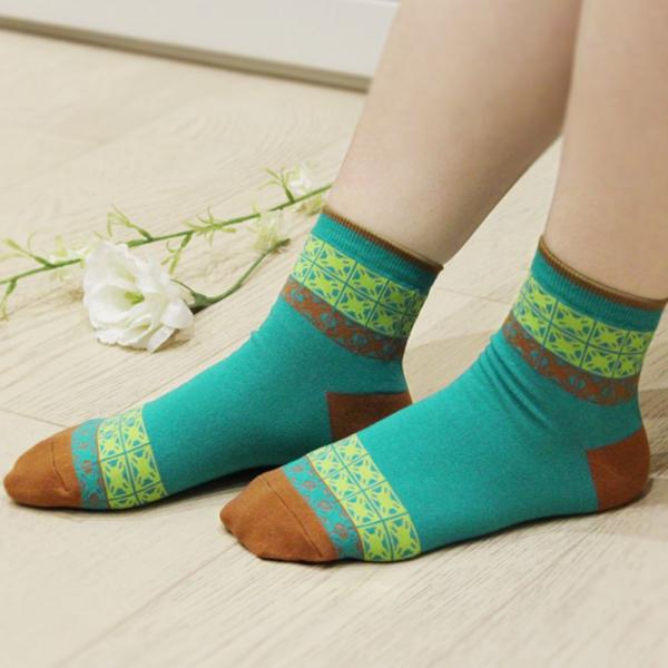 印花樂厚短襪-舊花磚1號/民族藍綠 襪子, 短襪