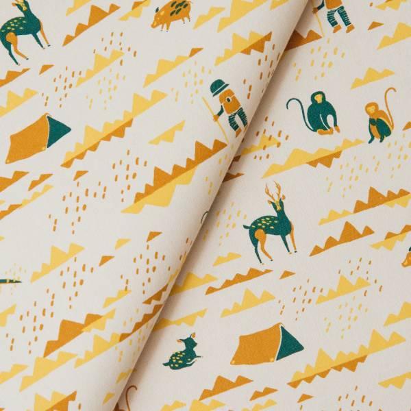 手印棉帆布_滿花-250g/y/山中健行/灰黃綠 布料, 棉帆布, 手作材料