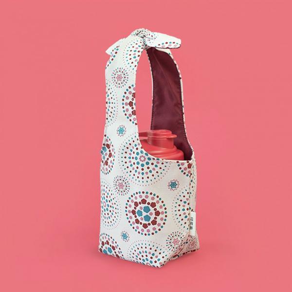小胖兔耳袋/煙火/絢爛粉紅 飲料提袋, 環保飲料提袋, 隨行杯提袋, 兔耳袋