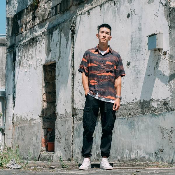 短袖襯衫-男裝/雜花/縱谷暗紅褐 中性襯衫,襯衫,花襯衫,印花布料