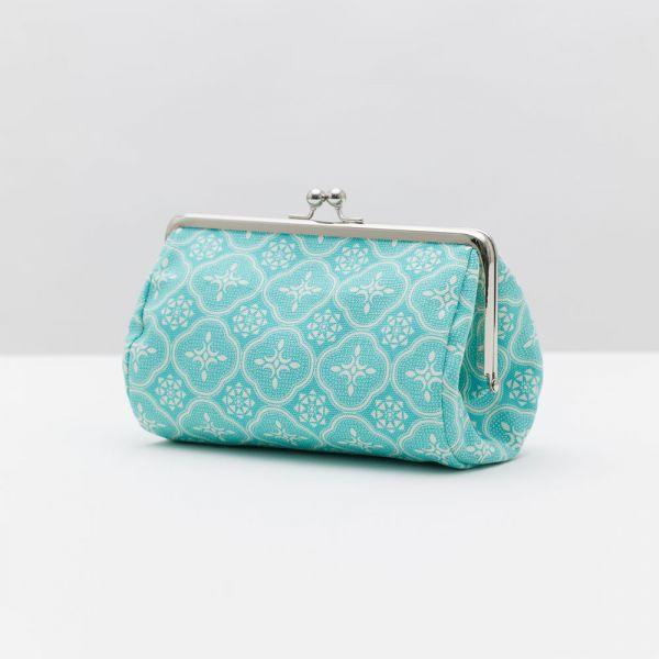 口金圓筒化妝包/玻璃海棠/冰晶藍綠 口金包, 零錢包,化妝包
