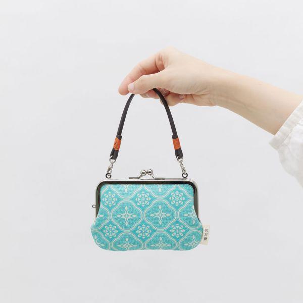 口金小長方錢包附皮革小帶/玻璃海棠/冰晶藍綠 口金包, 零錢包,收納包
