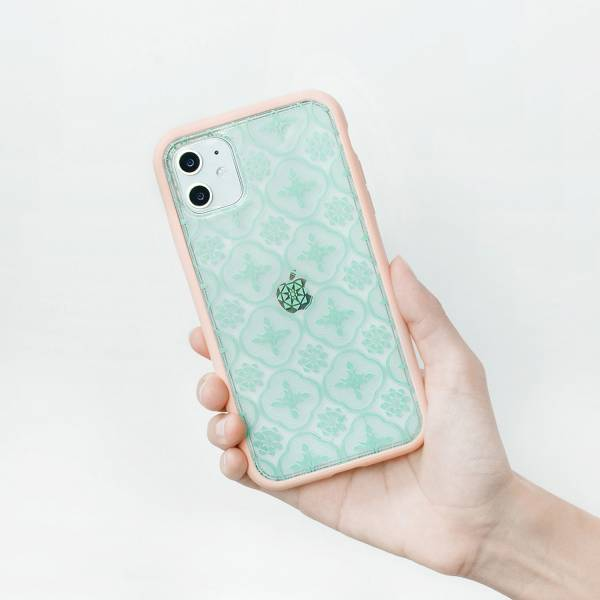 【現貨】印花樂X犀牛盾NX背板-iPhone/玻璃海棠/背蓋透明粉綠(小) 手機殼, 手機套, 犀牛盾, iPhone 手機殼