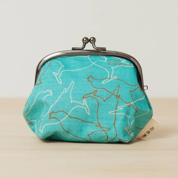 和風3.5吋口金包/台灣八哥/冰湖藍 口金包, 零錢包, 化妝包