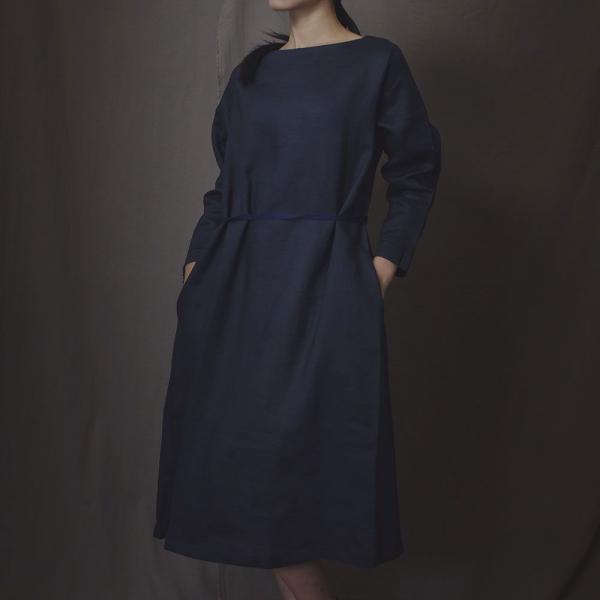 A字寬版罩衫/雜花/素色麻深藍 罩衫