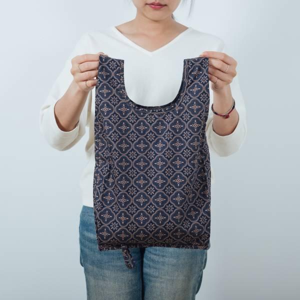 可收捲小背心袋/玻璃海棠/午夜藍褐 手提袋, 背心袋, 購物袋