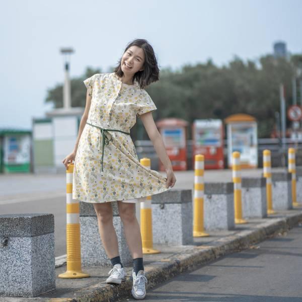 圓領小包袖襯衫式洋裝/米力系列/黃相思 2019,連身裙,洋裝,台灣八哥