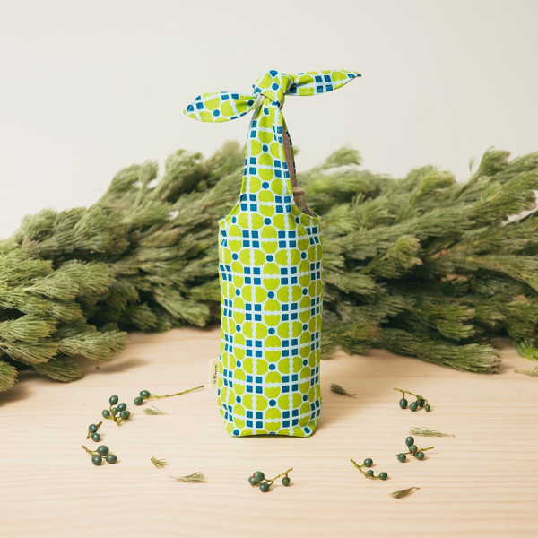 兔耳水壺袋/老磁磚4號/果樹綠色 飲料提袋, 環保飲料提袋, 隨行杯提袋, 兔耳袋
