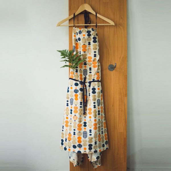 洋裝圍裙/米力系列/燈籠/橘藍 圍裙