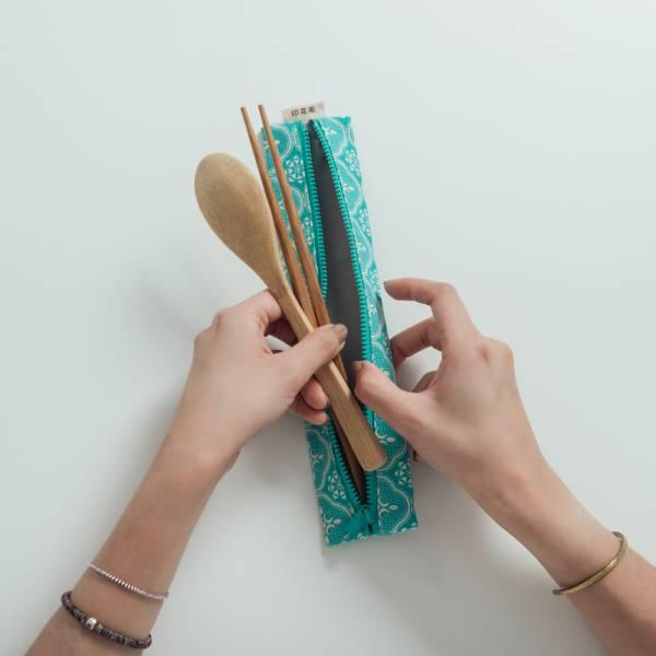 拉鍊餐具袋(含餐具)/玻璃海棠/冰晶藍綠 餐具袋