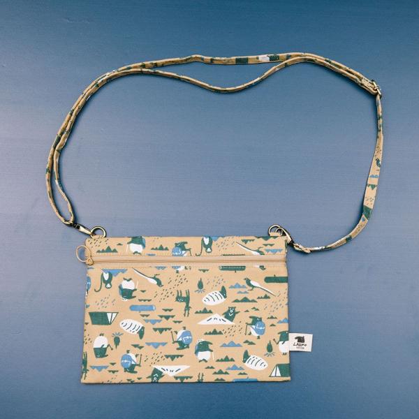 側背橫式扁袋/限定花色/印花樂x馬來貘-山林泥褐 隨身包, 側背包