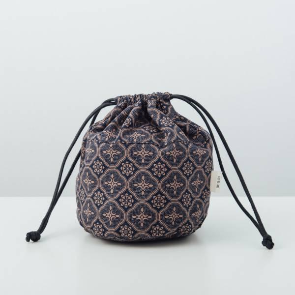 球型束口袋/玻璃海棠/午夜藍褐 束口袋, 收納袋
