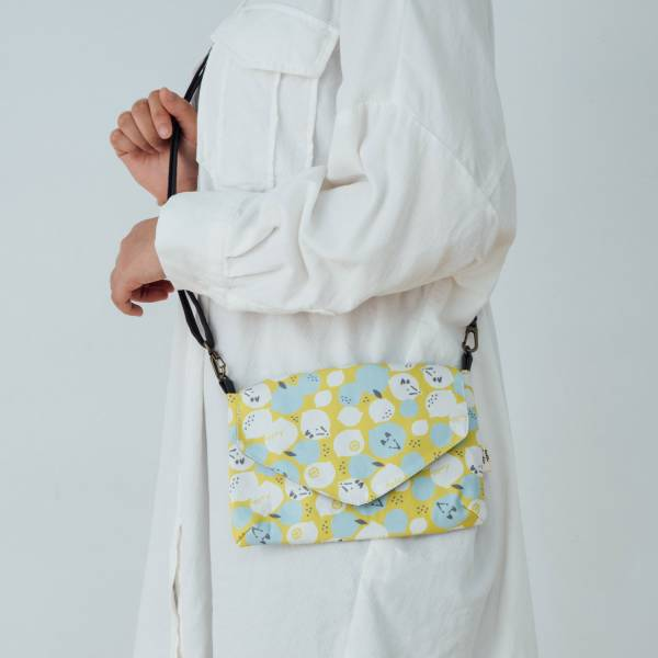 側背信封口小包/限定花色/印花樂x你好工作室 - 黃檸檬與狐狸
