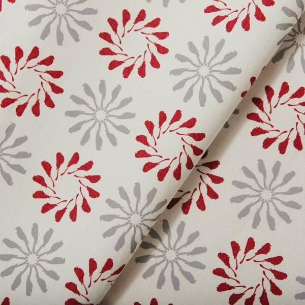 手印棉帆布-250g/y/烏秋圈圈/摩登紅灰 布料, 棉帆布, 手作材料