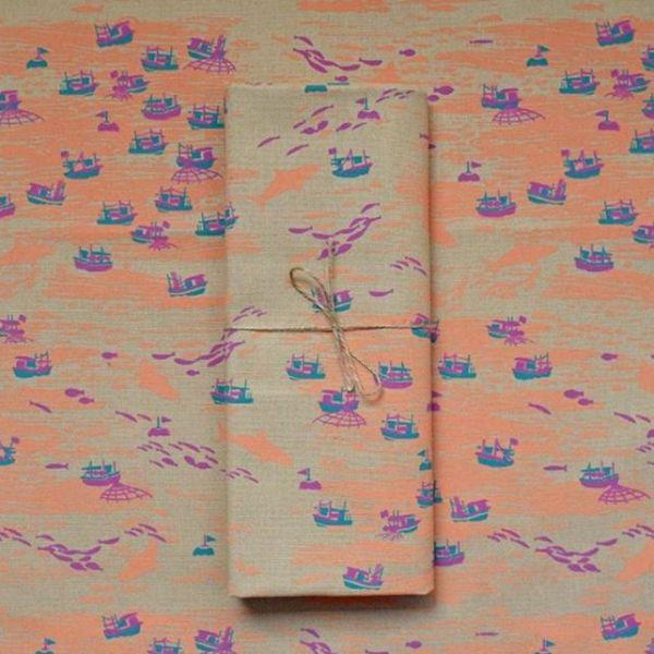 手印帆布250g/海的寶物/漁船/棕橘褐
