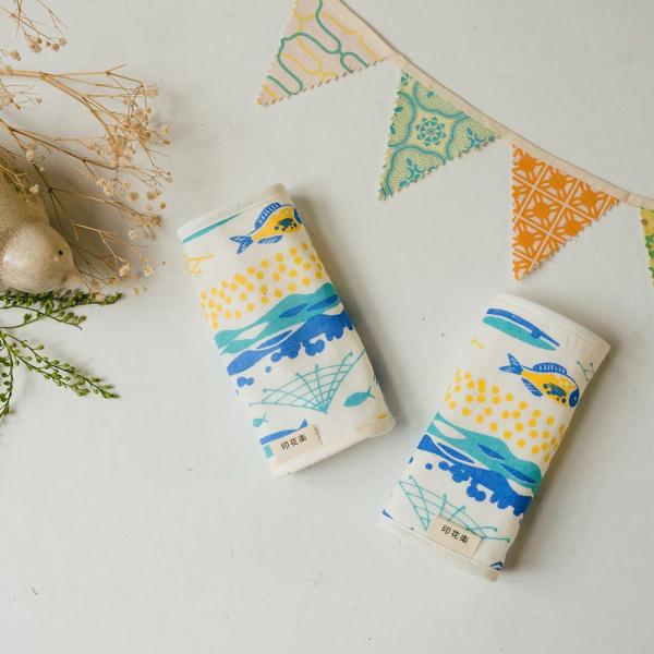 寶寶背帶口水巾二入組/海的寶物_魚群/活力黃藍 背帶口水巾, 口水巾